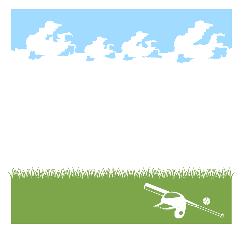 青空と芝生の野球のフレーム・飾り枠のイラスト