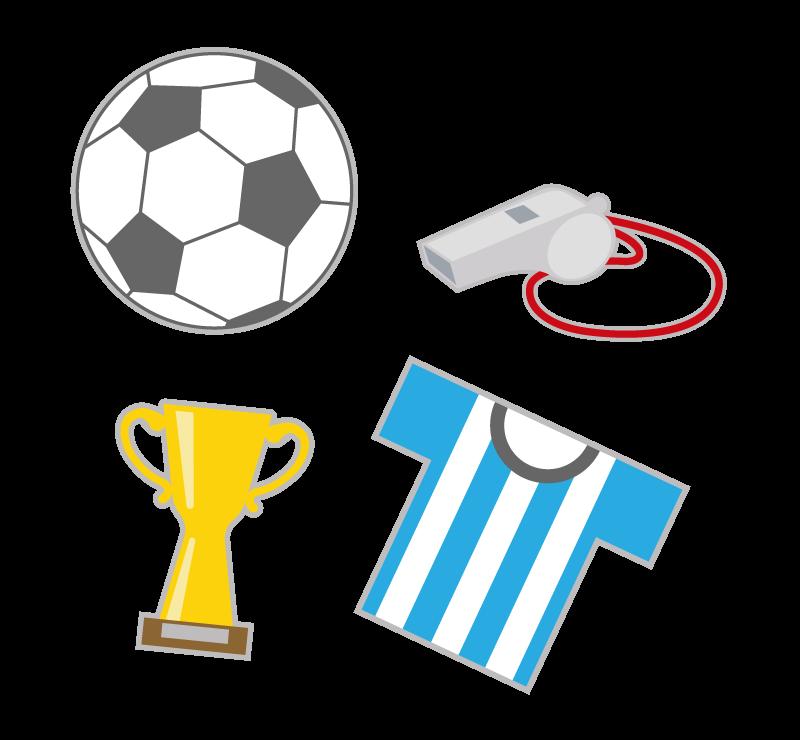 サッカーボールやユニフォームのイラスト
