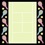 テニスコートのフレーム・飾り枠のイラスト