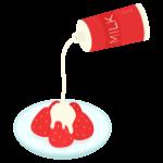 コンデンスミルクをかけた苺のイラスト
