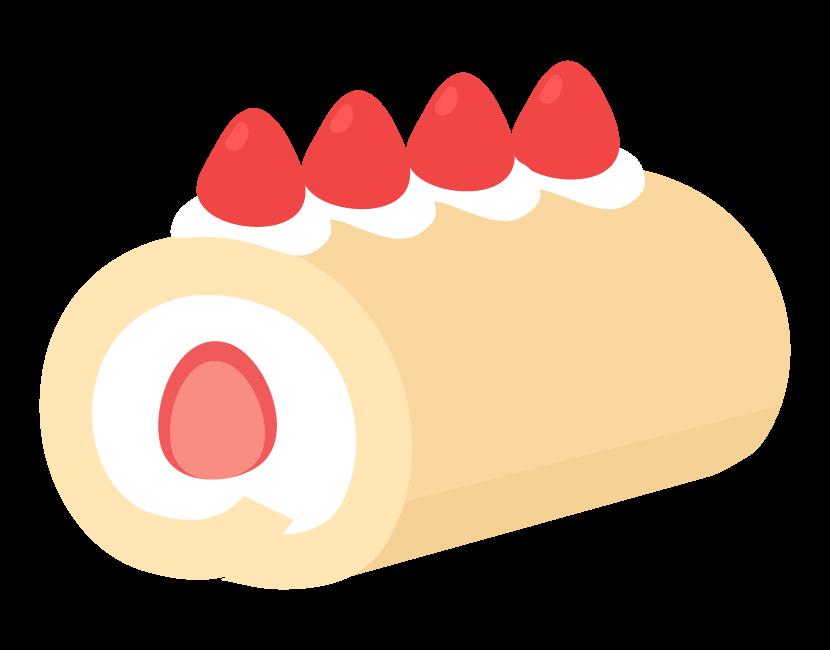 苺のロールケーキ(一本)のイラスト