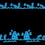 手書き風のスイミングのフレーム・飾り枠のイラスト