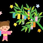 浴衣を着た女の子と七夕飾りのイラスト