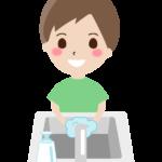 石鹸で手洗いをする男の子のイラスト
