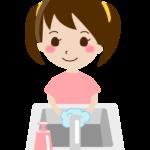 石鹸で手洗いをする女の子のイラスト