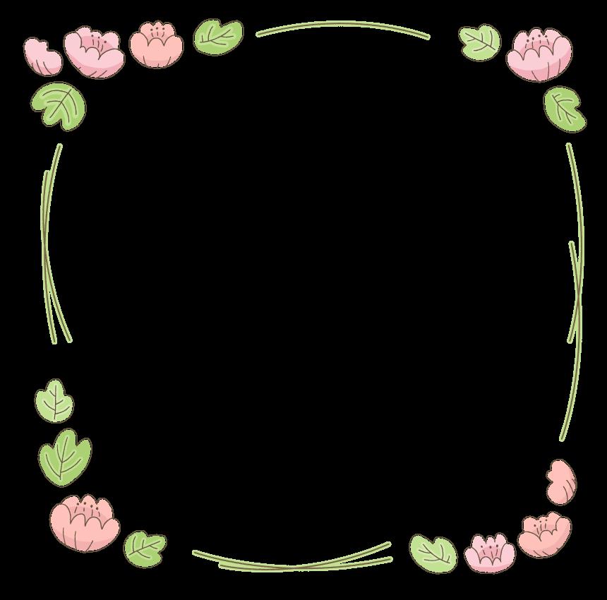 手書き風の花のかわいいフレーム・飾り枠のイラスト