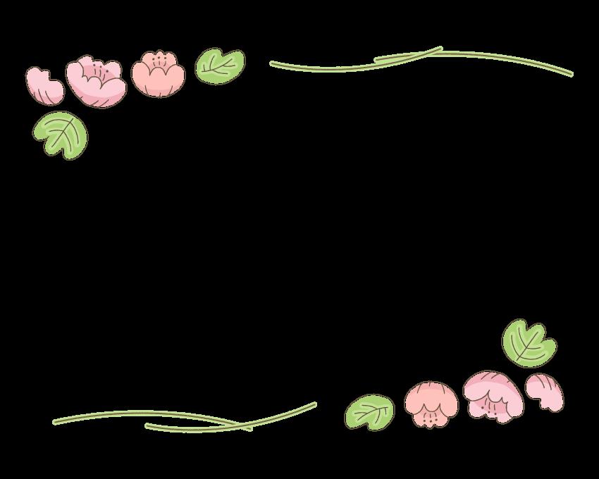 手書き風の花の上下フレーム・飾り枠のイラスト