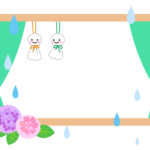 てるてる坊主と紫陽花の梅雨のフレーム・飾り枠のイラスト