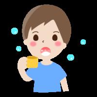 うがいをする男の子のイラスト