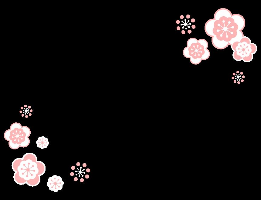 シンプルな梅の花のフレーム・飾り枠のイラスト