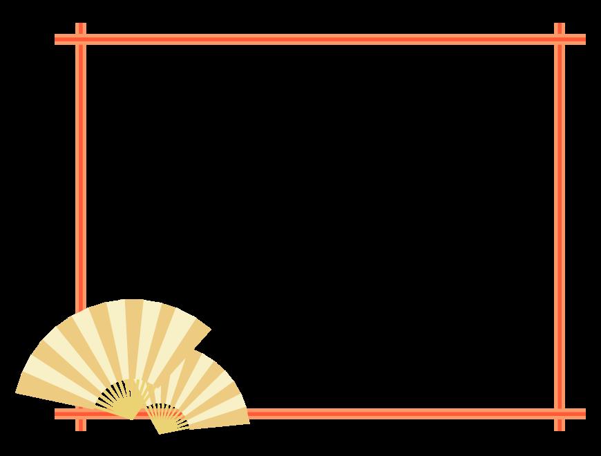 扇子の和風フレーム・飾り枠のイラスト