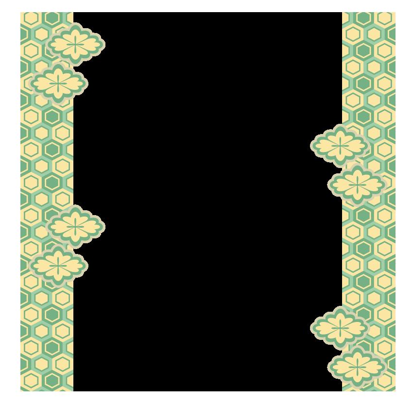六角形の和模様のフレーム・飾り枠のイラスト