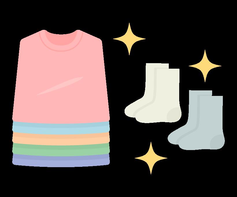 洗濯をしてピカピカになった服のイラスト