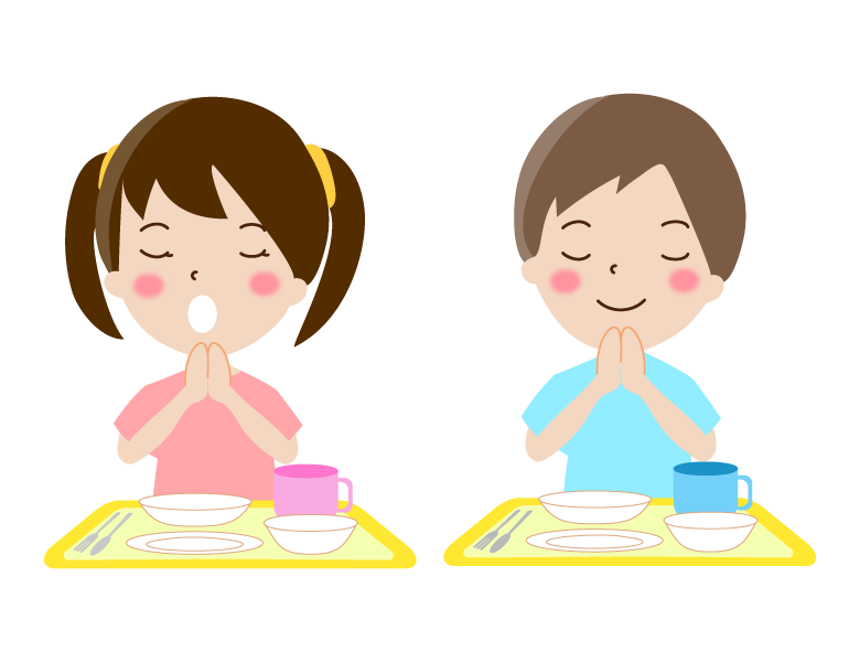 幼稚園の給食の「ごちそうさま」のイラスト