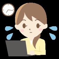 残業をする女性会社員のイラスト