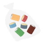 ごみ袋にまとめた空き缶のイラスト
