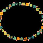 カラフルなアルファベットのフレーム・飾り枠のイラスト