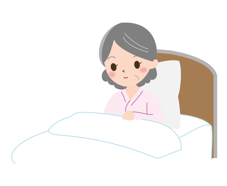 ベッドで横になるおばあさんのイラスト