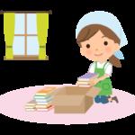 本の片づけや整理をする家事代行サービス・主婦のイラスト