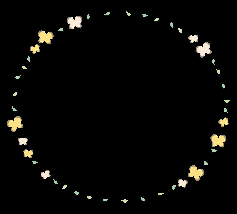 蝶々と葉っぱのかわいいフレーム・飾り枠のイラスト