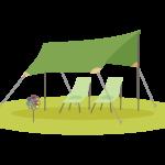 キャンプ・タープテントのイラスト