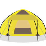 キャンプ用のワンタッチテントのイラスト
