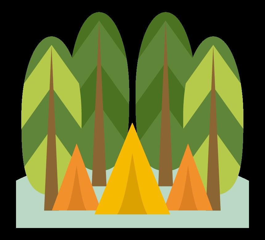 森とテントのイラスト