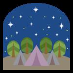 夜空とテントのイラスト