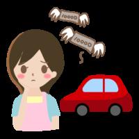 車のローンで悩む主婦のイラスト