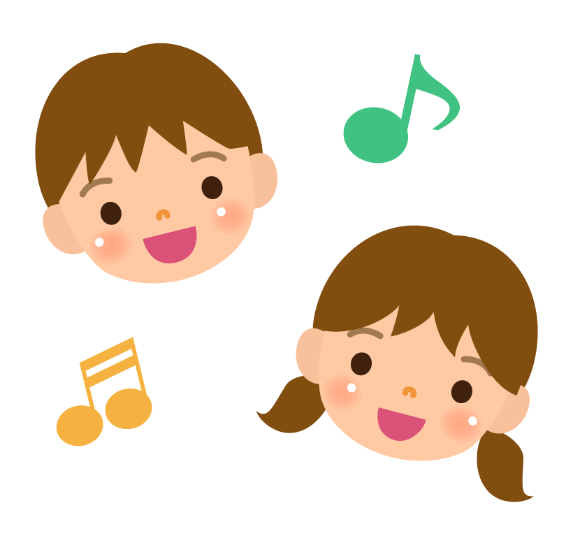 笑顔のこどもと音符のイラスト