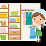 クローゼットの中を整理する家事代行サービス・主婦のイラスト