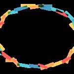 カラフルなテープ風の円形フレーム・飾り枠のイラスト