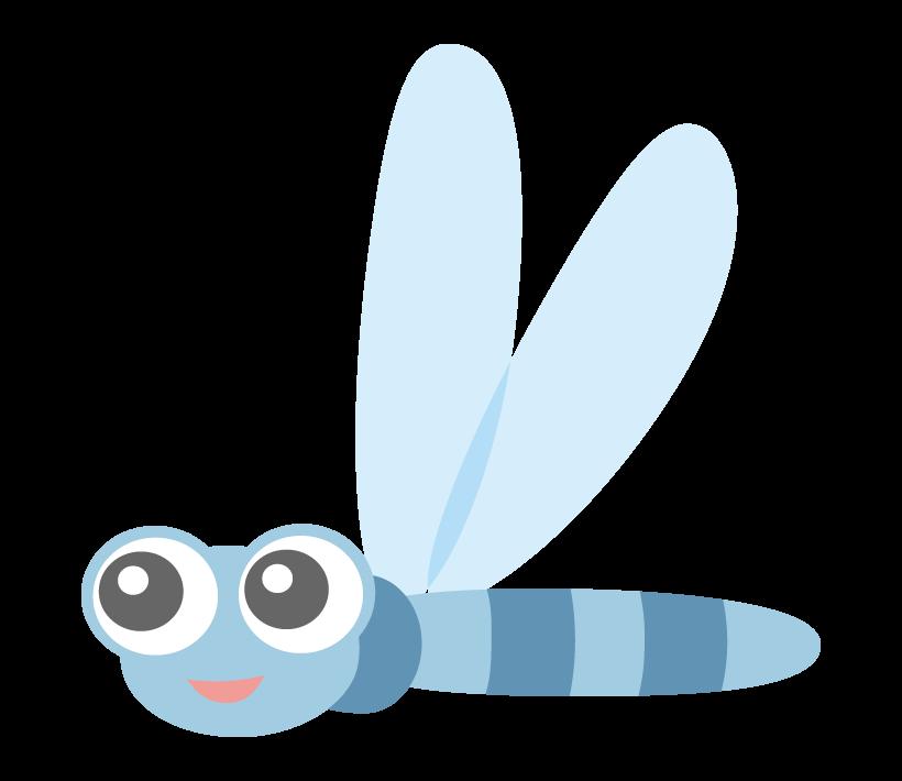 かわいい青いとんぼのイラスト