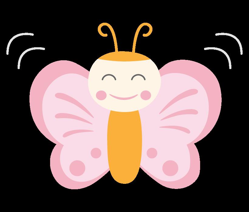 かわいい笑顔の蝶々のイラスト
