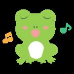 歌っているかわいいカエルのイラスト
