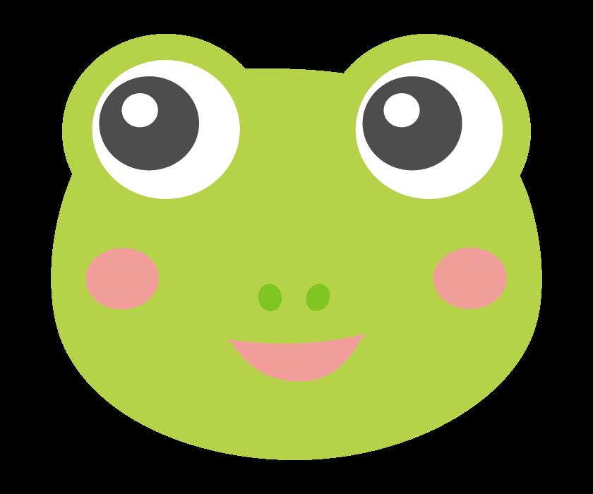 かわいいカエルの顔のイラスト