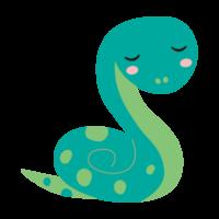 かわいい緑色のヘビのイラスト