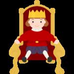 玉座に座っているかわいい王様のイラスト