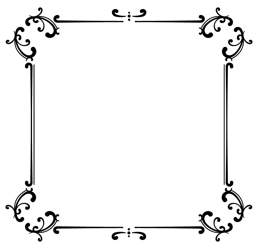 黒のエレガント風ラインのフレーム・飾り枠のイラスト02