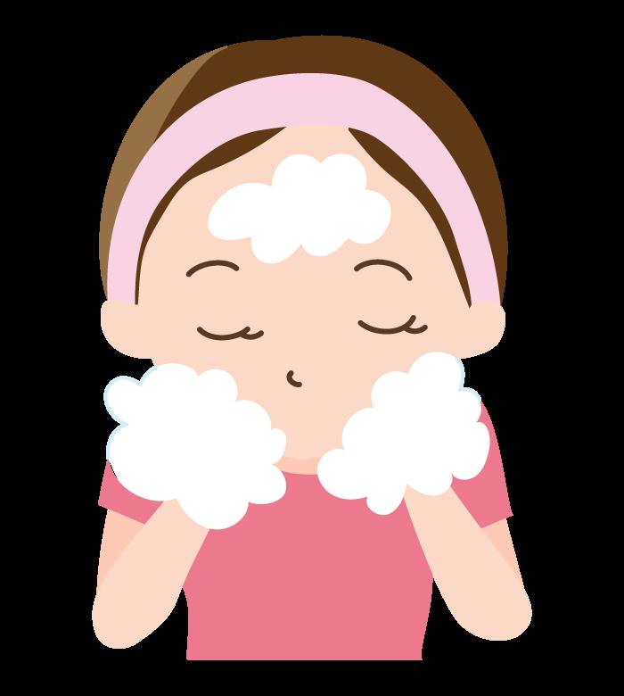 泡で洗顔のイラスト