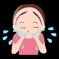 水で洗顔している女性のイラスト