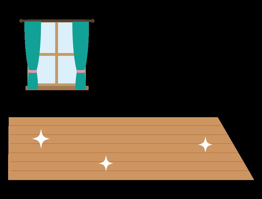 ピカピカのフローリングのイラスト