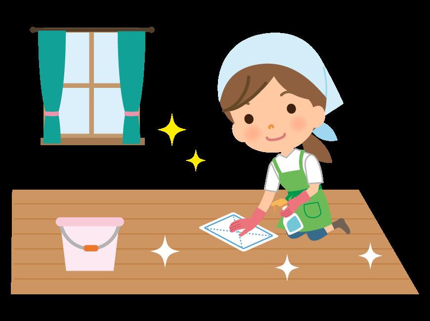 床掃除をする家事代行サービス・主婦のイラスト