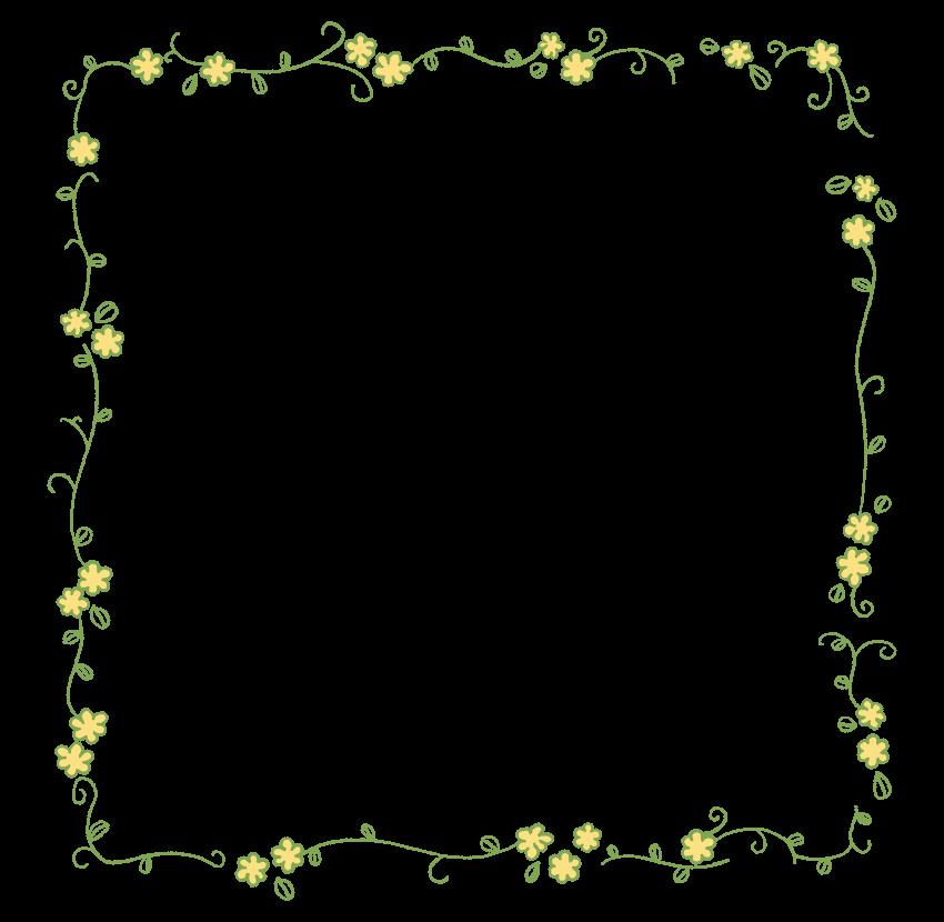手書き風のかわいい花と蔦のフレーム・飾り枠のイラスト