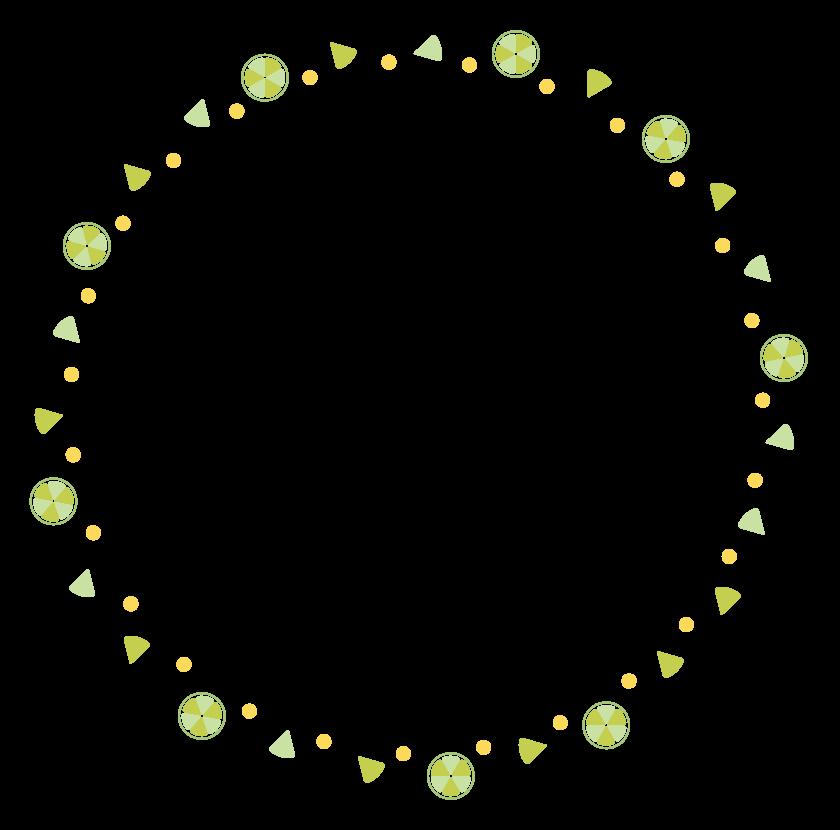 フルーツのサークル状のフレーム・飾り枠のイラスト
