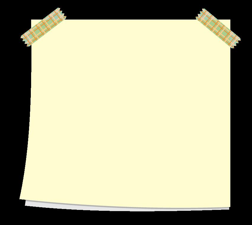 テープで貼った付箋風フレーム・飾り枠のイラスト