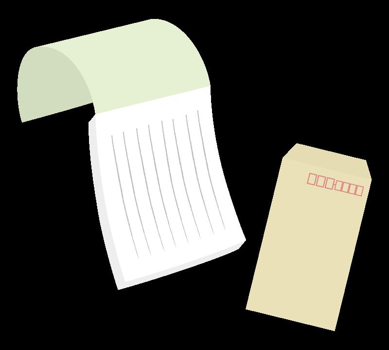 便箋と封筒のイラスト