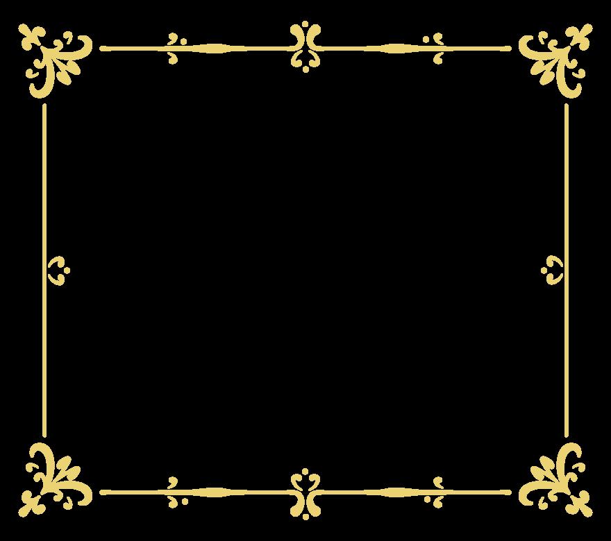 エレガントなゴールド風のフレーム・飾り枠のイラスト