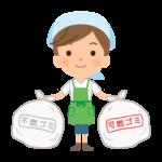 ゴミ出しをする家事代行サービス・主婦のイラスト