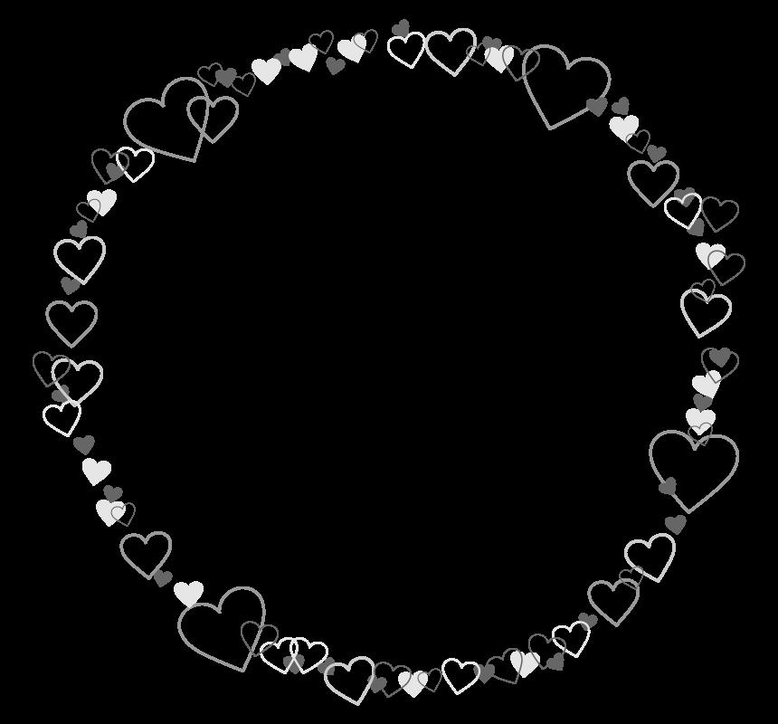 白黒のハートのサークル状のフレーム・飾り枠のイラスト